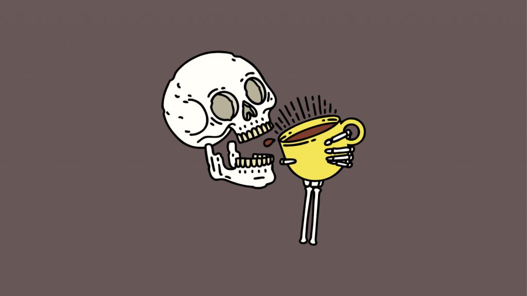 コーヒーを飲む骸骨